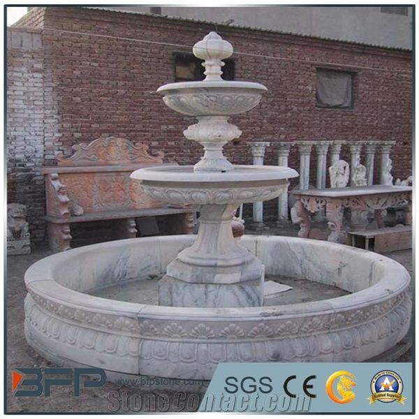 China White Marble Garden Fountains / Antique Shape Sculptured Handcarved  Exterior Fountains For Garden Decoration