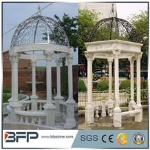 Chinese Marble Sculptured Gazebo/Western/European Customized Figure Human/Animal/ Hand Carving/For Outdoor/Garden, Beige Marble Gazebo