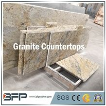 Elegant Yellow Grantie Kitchen Countertop, Customized Gillo Flower Granite Countertops