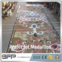 Floor Decoration Design, Green and Brown Onyx Medallion, Onyx Marble Medallion, Marble Water Jet Medallion or Water Jet Pattern, Floor Medallion, for High-End Hotel and Commercial Building