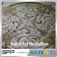 Floor Decoration Design, Marble Medallion, Marble Water Jet Medallion or Water Jet Pattern, Floor Medallion, Round Medallion, Rosettes Medallion for High-End Hotel