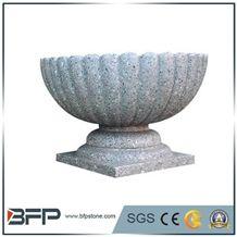 G603 Granite Carving Flower Pots Landscaping Stone, Sesame Grey Granite Exterior Planters