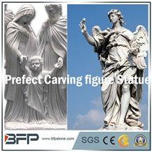 Handcarved Angel White Marble Sculpture, God Sculpture, Garden Sculpture, Landscape Sculpture