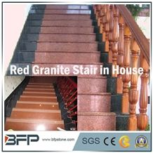 Red Granite Stair Step and Riser in Staircases