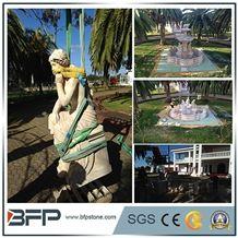 Travertine Handcarved Sculpture, Human Sculpture Garden Sculpture, Animal Landscape Sculpture