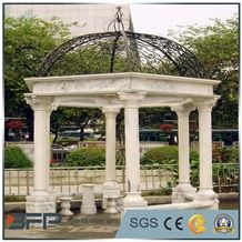 White Marble Garden Stone Gazebo with Iron Roof for Outdoor Decoration, Wanxia Red Pink Marble Gazebo