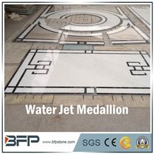 White Marble Medallion, Marble Water Jet Medallion, Marble Water Jet Pattern, Square Medallion, Floor Medallion, Wall Medallion for Floor Covering and Wall Cladding