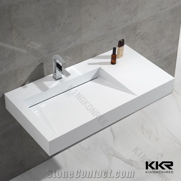 White Solid Surface Bathroom Wall Hung, Solid Surface Bathroom Sink