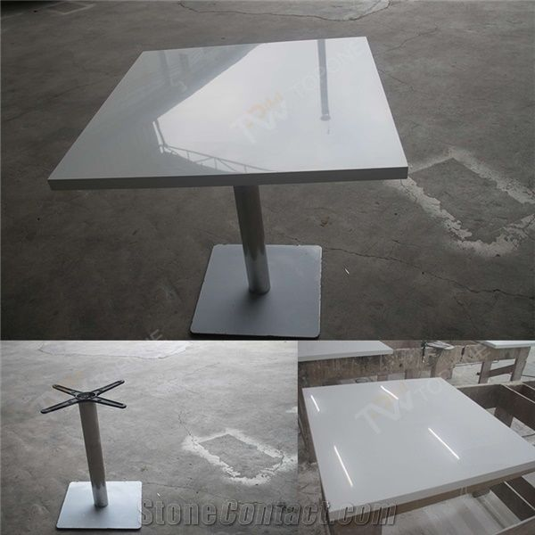Chinese Factory Supply Square Four Seats White Artificial Marble - Stainless steel table tops for sale