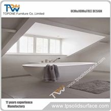 Corian Acrylic Solid Surface Oval Shape Bathtubs for Hotel Bathroom, Hotel Artificial Marble Stone White Color Bathtubs for Sale