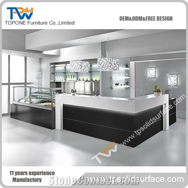 Corian Solid Surface L Shape Table Tops With Showcase For Restaurant - Corian restaurant table tops