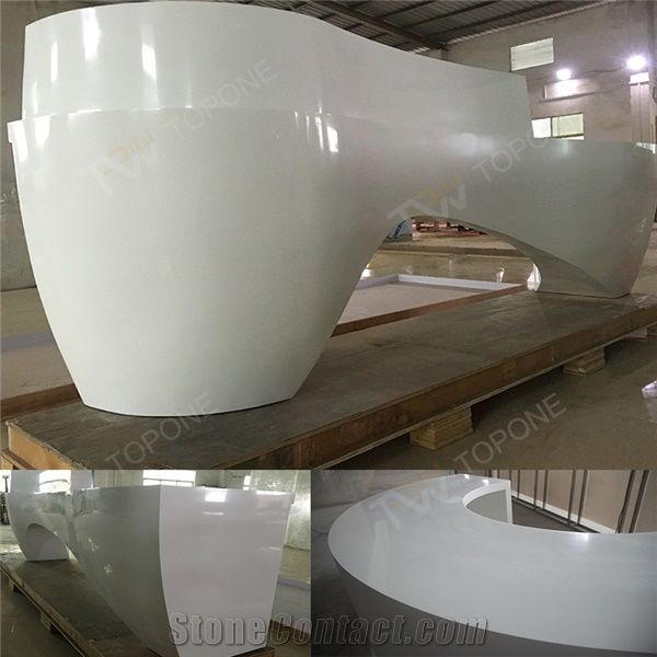 Curved Design White Marble Reception Desk With Solid