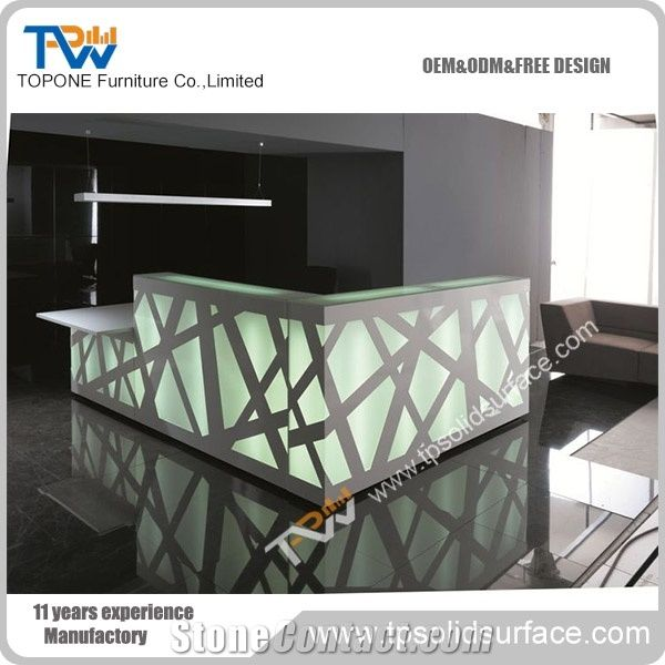 Home Tabletops Reception Custom Design L Shape Modern Led Light Acrylic Solid Surface Stone Hotel Desk Lobby