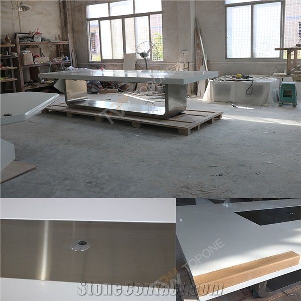 Factory Supplied White Artificial Marble Stone Office Table Tops And - Stainless steel table tops for sale