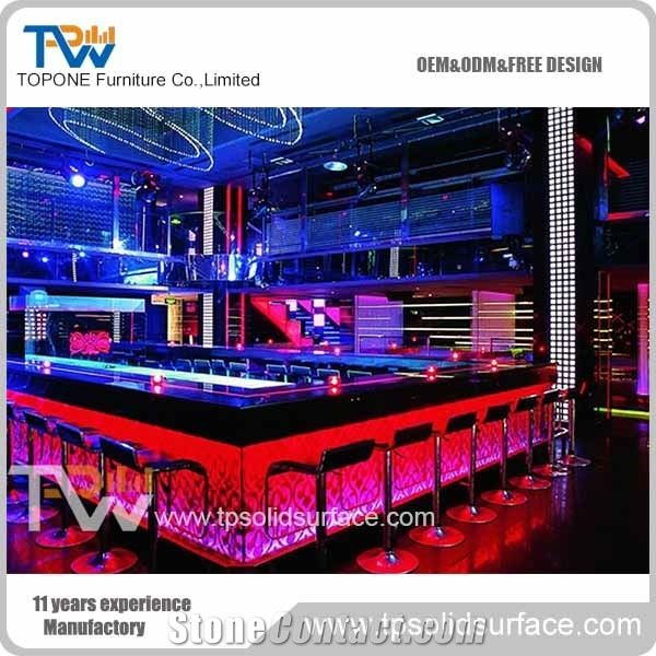 Factory Supply L Shape Wooden Bar Counter with Artificial ...