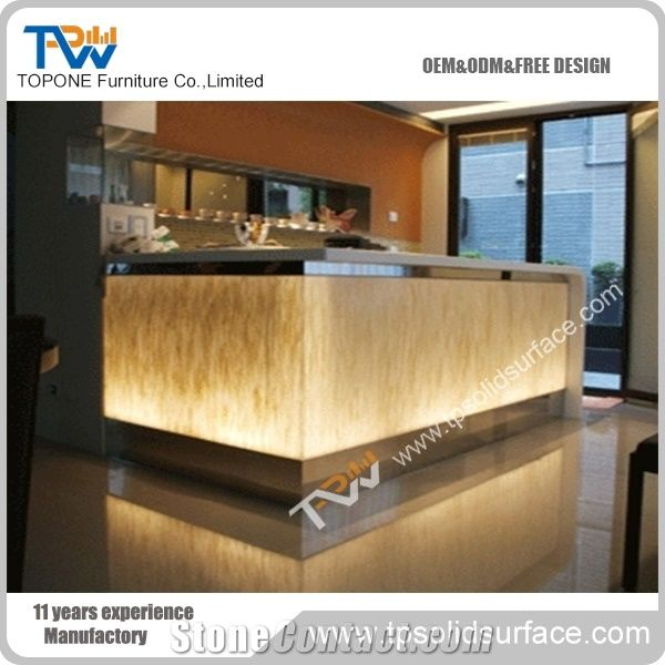 L Shape Oem Or Odm Corian Solid Surface Reception Counter
