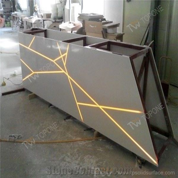 Led Light Strips With Steel Construction Inside Reception Desk Artifcial Marble Good Stone Solid Surface Counter Table Tops