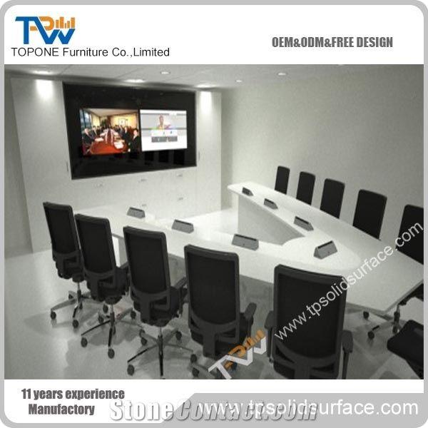 Modern Design Artificial Marble Stone Conference Table With Socket - Stone conference table