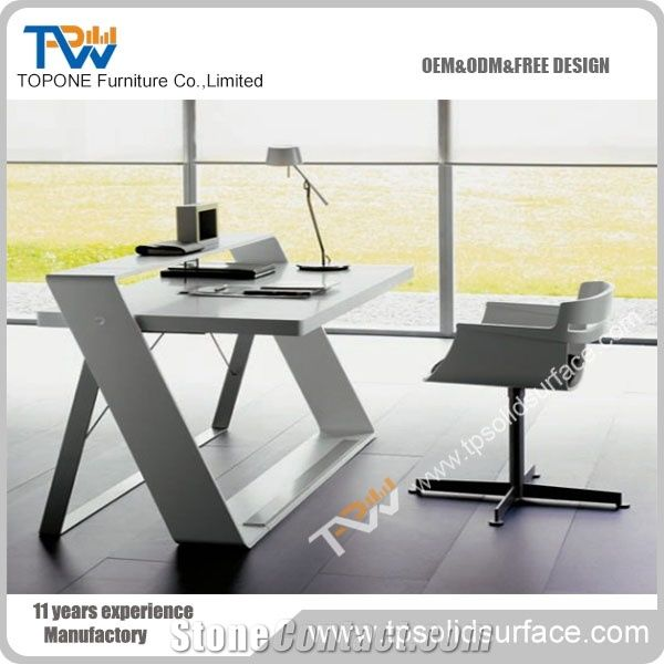 New Design Steel Leg Fold Solid Surface Office Desk For Manager Table Executive Furniture Factory Supply