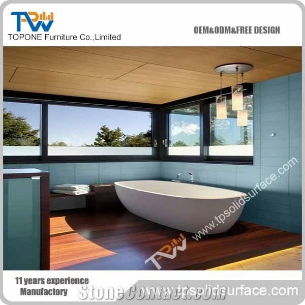 Oem White Free Standing Corian Acrylic Solid Surface Resin Bath Tub ...
