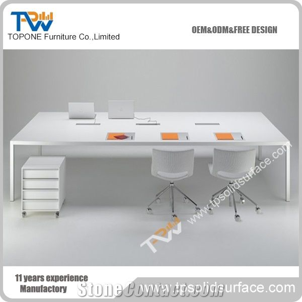 Simple Design White Marble Stone Solid Surface Conference