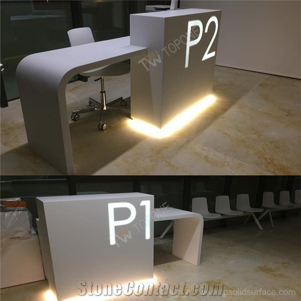 Small Office Corian Acrylic Solid Surface Front Reception