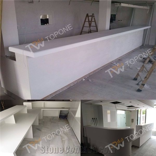 Home Tabletops Reception Straight Shape Factory White Office Desk With Artificial Marble Stone Table Top Design Corian Acrylic Solid