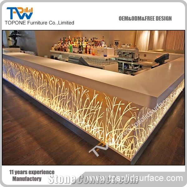 U Shape Factory Supply Led Bar Counter with Solid Surface Desk Top ...