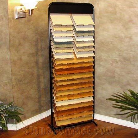 Metal Floor Waterfall Tile Display Stand Rack Ceramic Stone Slab Hardwood Loose