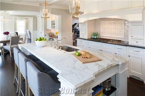 Calcutta Gold Honed With An Ogee Edge Kitchen Island Top Via