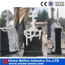 Engraved Granite Monument with Statue , China Black Granite Tombstone Headstone Monument , Angel Headstone Memorial Cemetery Monument,Cross Gravestone and Headstone Design,Russian and Poland Monuments