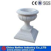 White Marble Planter Pots,Granite Carved Flower Pot,Exterior Flower Vase for Garden