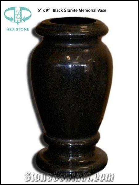 Grave Vase Tombstone Vase Memorials Vase Shanxi Black Granite Urn