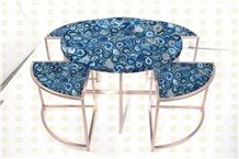 Blue Agate Semiprecious Stone Office Furniture Blue Gemstone Meeting Table for Office