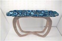 Blue Gemstone Coffee Table Blue Agate Semiprecious Stone Custom Design Funiture for Office