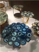 Blue Gemstone Round Table Blue Agate Stone Table Top for Office