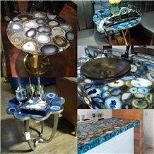 Gemstone Stone Semiprecious Stone Tea Tables for Office,Interior Stone Tabletops