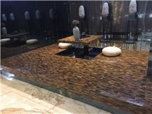 Semiprecious Stone Home Stone Furniture Tiger Eye Coffee Table Furniture