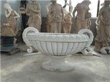 White Marble Garden Flower Pot,China Landscape Flower Stand,Outdoor Landscape Planter Pot