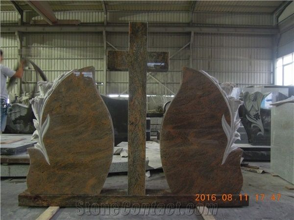 Indian Multicolor Red Granite Tombstones Monuments