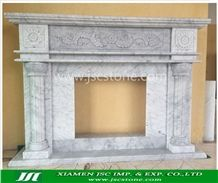 Bianco Carrara Cd White Marble Fireplace