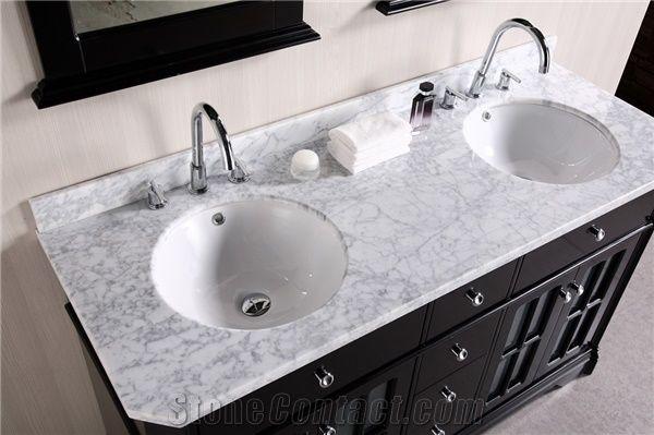 Carrara White Marble Precut Bathroom Double Countertops