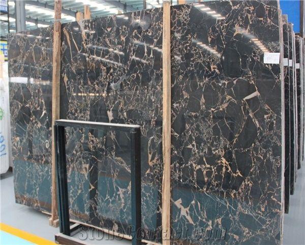 China Polished Portoro Marble Slab Tile China Nero Portoro