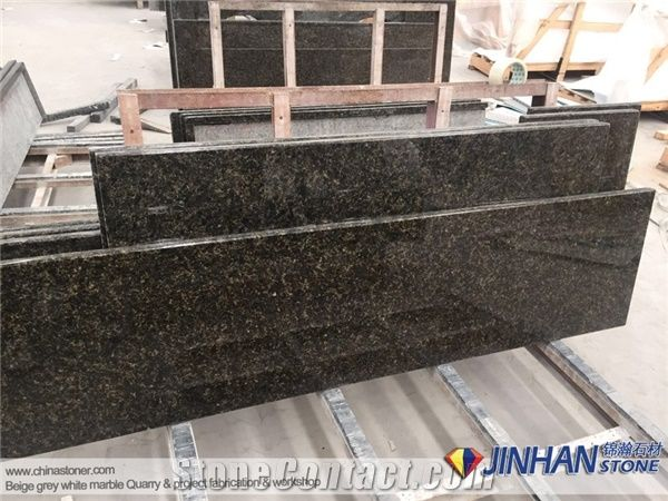 Verde Ubatuba Granite Countertops, Brazil Granite Prefab Kitchen Countertops
