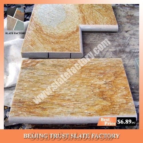 Gold Yellow Swimming Pool Coping Pavers,Golden Beige Quartzite Pool ...