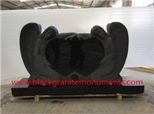 Shanxi Black Double Angels with Hearts Monuments, China Absolute Black Angel Monuments, Supreme Black Angle with Heart Headstone & Tombstone