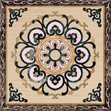 High Polished Natural Beige and White Marble -Dark Green and Light Emperador Square Medallions for Wall and Flooring