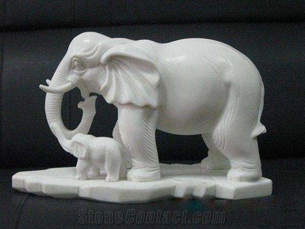 Popular China Natural Marble Animal Elephant Sculptures
