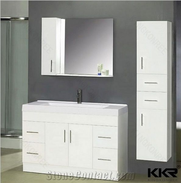 Snow White Oak Bathroom Cabinets With