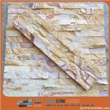 Rainbow Sandstone Stone Veneer Backsplash,Yellow Sandstone Ledgestone, Yellow Slatestone Veneer Siding for Homes